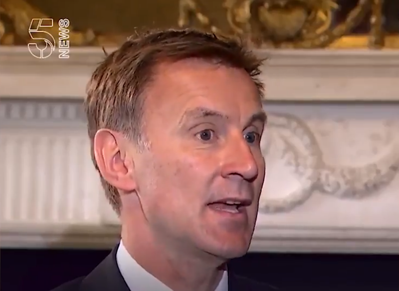 """Jeremy Hunt calls chants of """"send her back"""" at Trump rally 'deeply concerning' on Channel 5. (Channel 5)"""