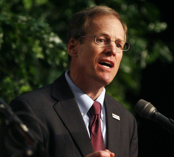 FILE - In this Jan. 18, 2014, file photo, Rep. Jack Kingston, R-Ga., speaks during a debate in Adel, Ga. Seeking promotion to the U.S. Senate, Kingston avoids an explicit yes-or-no answer when asked by a voter if he considers himself a tea party candidate. Georgia's U.S. Senate Republican primary is shaping up as a struggle between arch-conservatives and business interests who believe a tea party-backed candidate could lose a general election. Several candidates are trying to satisfy both the conservative activists and the more traditional Republicans. (AP Photo/Phil Sears. File)