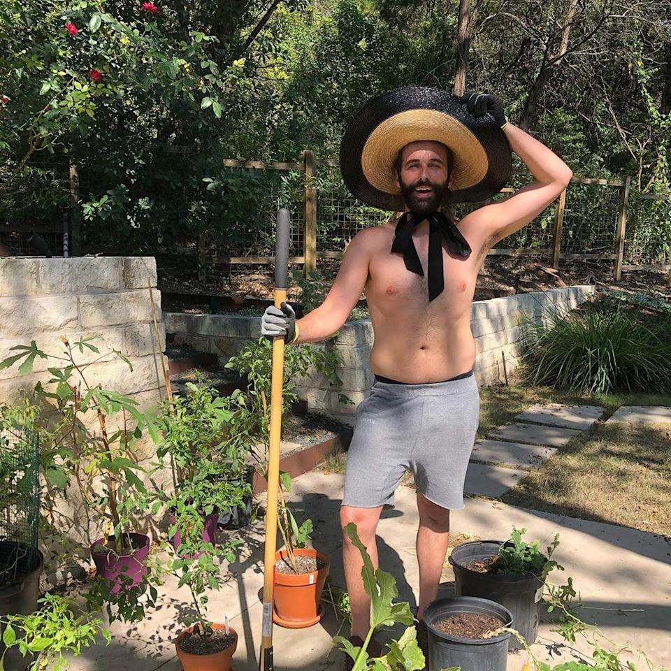 """<p>""""Welcome to Gardener's World 🏳️🌈,"""" joked the <em>Queer Eye</em> grooming expert, posing shirtless in an oversized straw hat while surrounded by <a href=""""https://www.instagram.com/p/CGN0XdLAUWi/"""" rel=""""nofollow noopener"""" target=""""_blank"""" data-ylk=""""slk:his potted plants"""" class=""""link rapid-noclick-resp"""">his potted plants</a>. """"Hope you're getting some selfcare in this weekend 💗,"""" he added. </p>"""