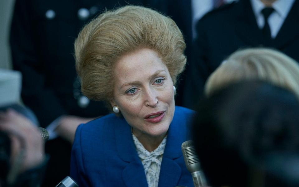 Gillian Anderson as Margaret Thatcher in the new series of The Crown - Netflix