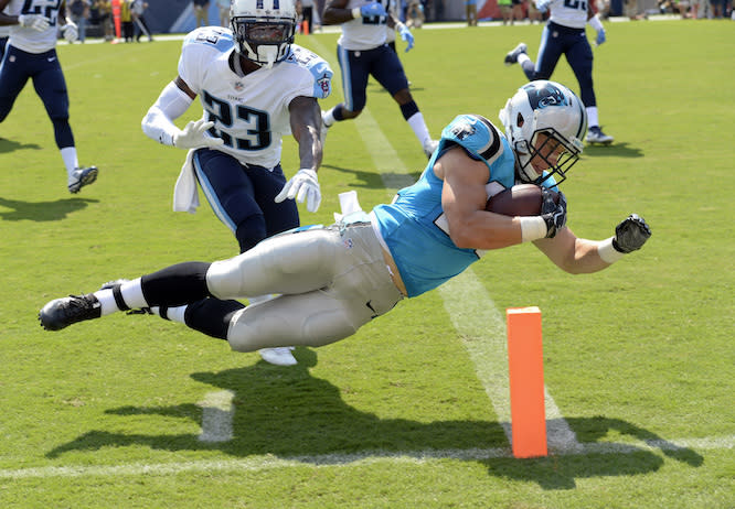 """<a class=""""link rapid-noclick-resp"""" href=""""/nfl/players/30121/"""" data-ylk=""""slk:Christian McCaffrey"""">Christian McCaffrey</a>'s fantasy value is reaching new heights, and not just in PPR leagues. (AP)"""