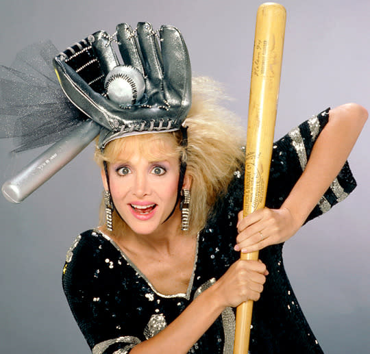 Arleen Sorkin, with her own Louisville Slugger, as Calliope on  <em>Days of Our Lives</em> (Photo: Joseph Del Valle/NBC/Getty Images)