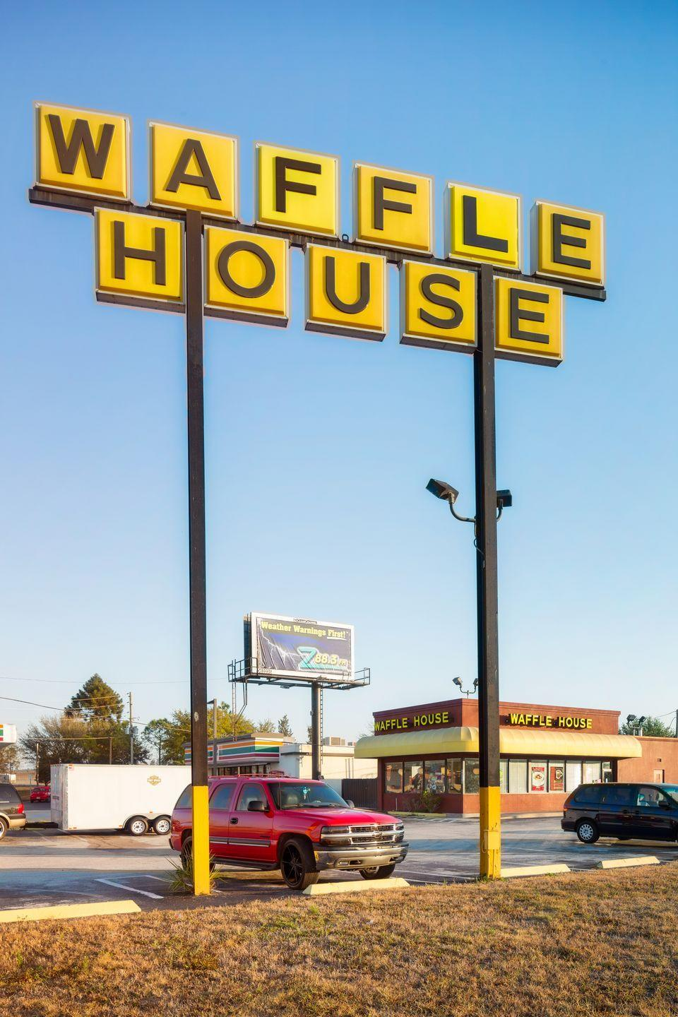 "<p>If you can't go a day without eggs, bacon, and grits, Waffle House is <a href=""https://www.wafflehouse.com/faq/"" rel=""nofollow noopener"" target=""_blank"" data-ylk=""slk:open"" class=""link rapid-noclick-resp"">open</a> 24 hours a day, 365 days a year — yep, even Christmas Day.</p>"