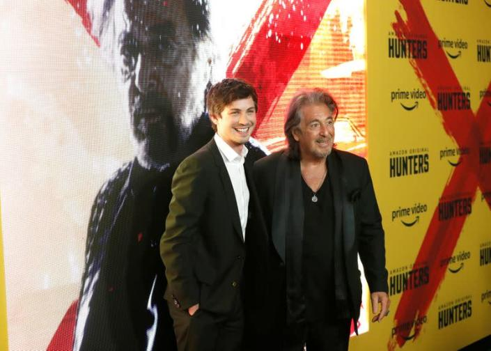 """Cast members Pacino and Lerman pose at a premiere for the television series """"Hunters"""" in Los Angeles"""