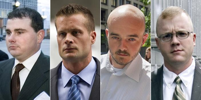 FILE - This combination made from file photo shows Blackwater guards, from left, Dustin Heard, Evan Liberty, Nicholas Slatten and Paul Slough. On Tuesday, Dec. 22, 2020, President Donald Trump pardoned 15 people, including Heard, Liberty, Slatten and Slough, the four former government contractors convicted in a 2007 massacre in Baghdad that left more a dozen Iraqi civilians dead and caused an international uproar over the use of private security guards in a war zone. (AP Photo/File)