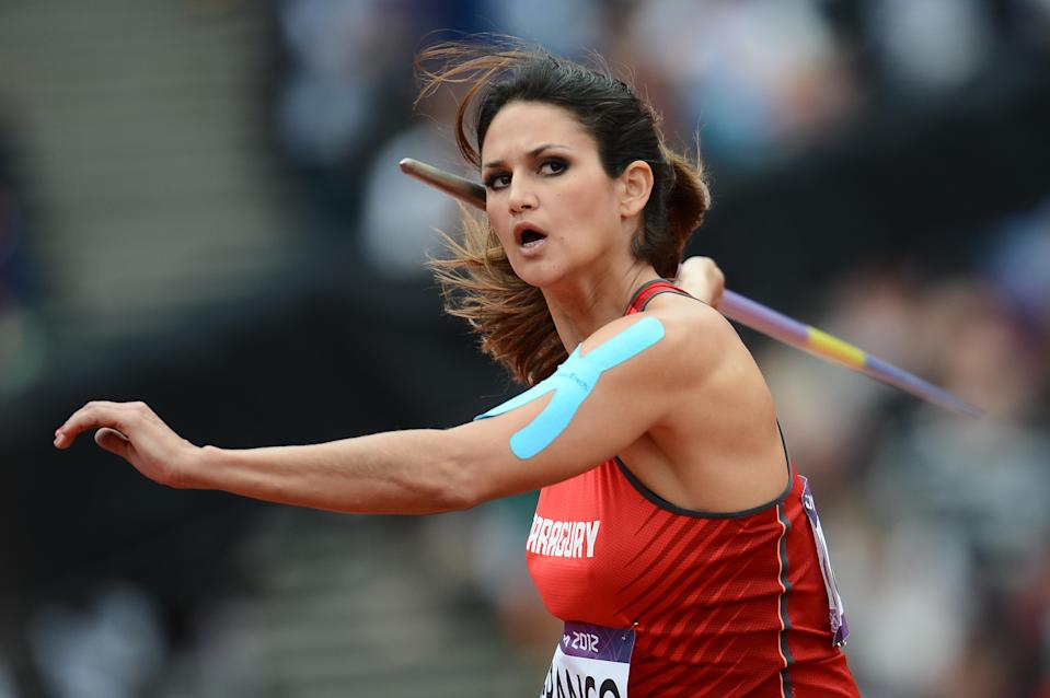 Paraguay's Leryn Franco competes in the women's javelin throw qualifying rounds at the athletics event during the London 2012 Olympic Games on August 7, 2012 in London. (FRANCK FIFE/AFP/Getty Images)