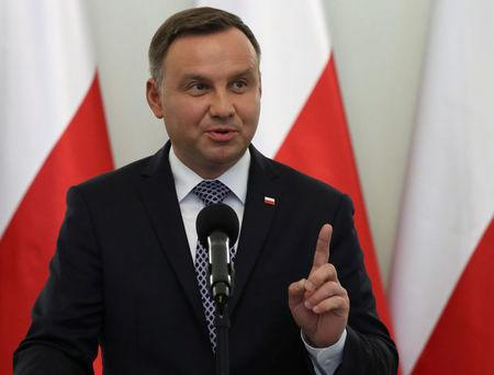 Poland's President Andrzej Duda speaks during a media announcement regarding judiciary reform at Presidential Palace in Warsaw