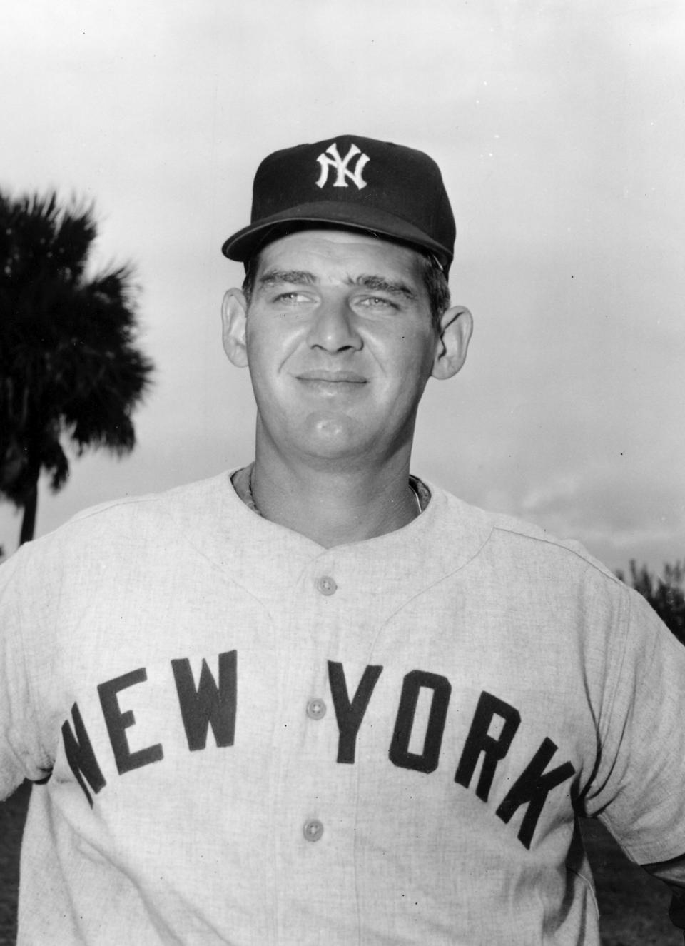 FILE - In this March 1956 file photo, New York Yankees pitcher Don Larsen poses for a photo during baseball spring training in St. Petersburg, Fla. Larsen, the journeyman pitcher who reached the heights of baseball glory in 1956 for the Yankees when he threw a perfect game and the only no-hitter in World Series history, died Wednesday night, Jan. 1, 2020. He was 90. (AP Photo, File)