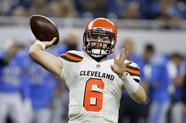Baker Mayfield won't start the regular season at quarterback for the Browns. (AP)