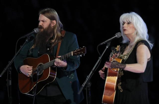 Chris Stapleton and Emmylou Harris pay tribute to the late Tom Petty. (Photo: Lucas Jackson/Reuters)