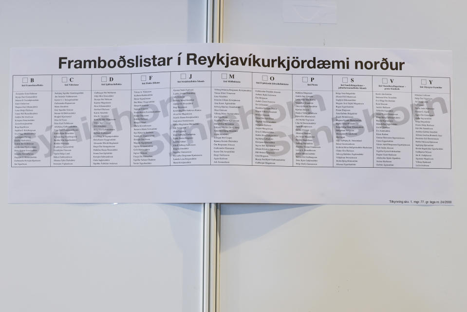 A sample of the ballot paper on a wall at the polling station inside Reykjavik City hall in Reykjavik, Iceland, Wednesday, Sept. 22, 2021. Climate change is top of the agenda when voters in Iceland head to the polls for general elections on Saturday, following an exceptionally warm summer and an election campaign defined by a wide-reaching debate on global warming. (AP Photo/Brynjar Gunnarsson)