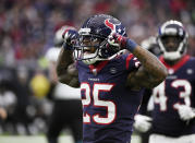 Houston Texans defensive back Jermaine Kelly (35) celebrates after making a stop against the Jacksonville Jaguars during the second half of an NFL football game, Sunday, Dec. 30, 2018, in Houston. (AP Photo/Eric Christian Smith)