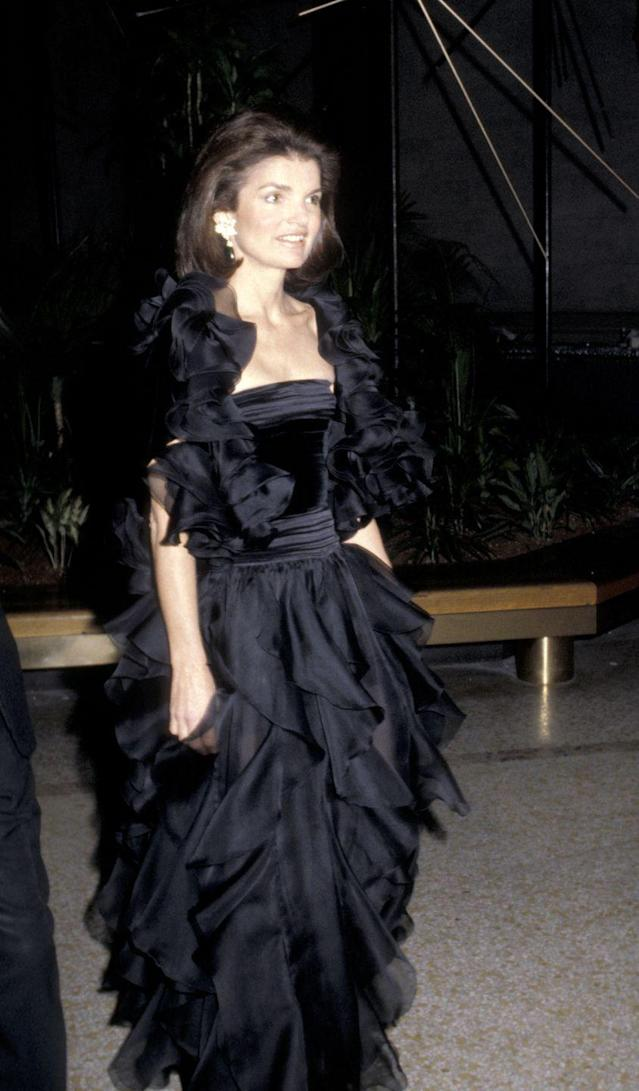 """<p>Onassis made a rare appearance at the 1979 """"Fashions of the Habsburg Era: Austria-Hungary Met Gala,"""" causing a media stir for the former First Lady. She wore a flowing black gown with draped fabric. Onassis was later honoured at future Met Galas for her presence as a fashion icon in American culture. </p>"""