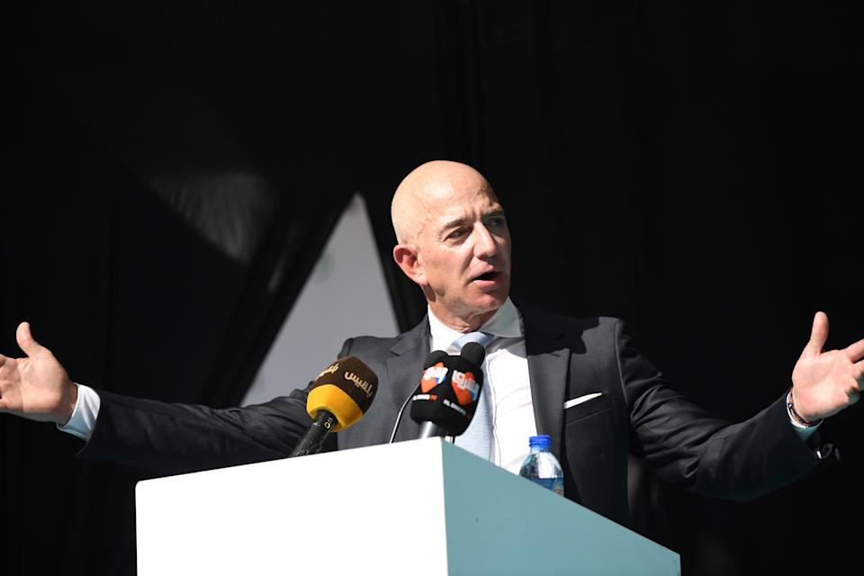 CEO of Amazon and Washington Post owner Jeff Bezos speaks during an event marking the one-year anniversary of the assassination of Saudi dissident journalist Jamal Khashoggi in Istanbul, on October 2, 2019. - Khashoggi, a Washington Post columnist, was killed and dismembered at the Saudi consulate in Istanbul on October 2, 2018, in an operation that reportedly involved 15 agents sent from Riyadh. His remains have not been found. (Photo by BULENT KILIC / AFP) (Photo by BULENT KILIC/AFP via Getty Images)