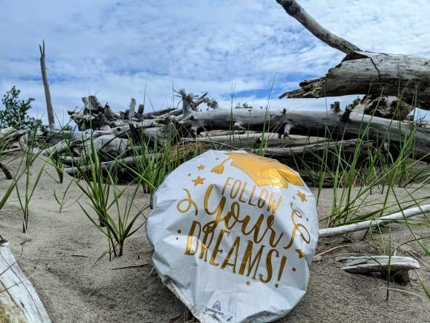 A half-deflated balloon marking someone's graduation lies in the sand on the north shore of Lake Erie.  (Submitted by Leanne Grieves - image credit)