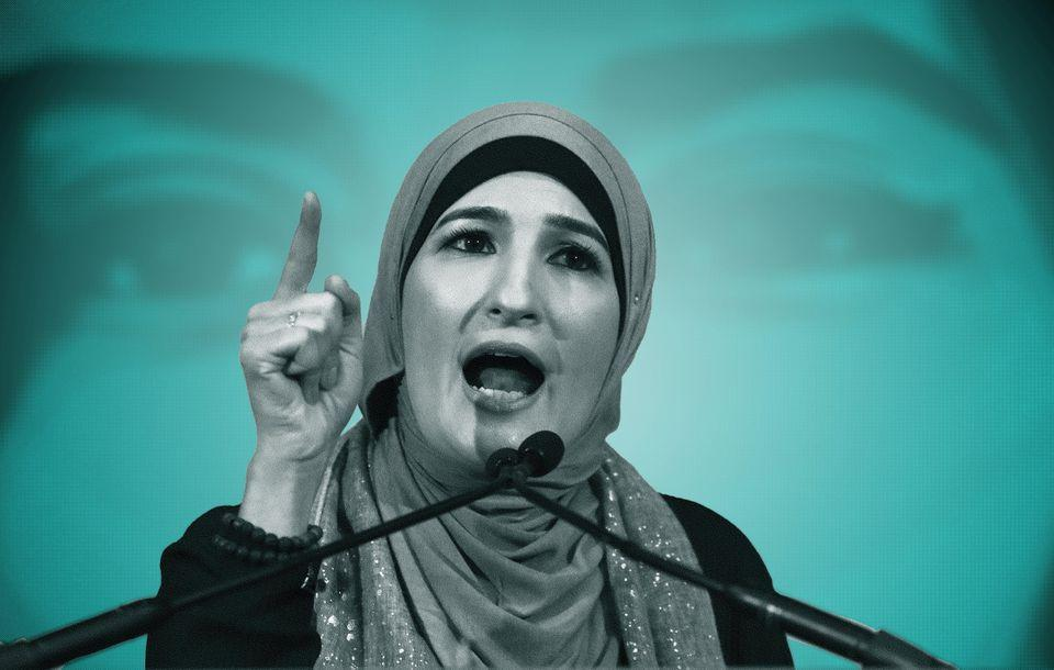Linda Sarsour speaks during a National Day of Action for a Dream Act Now protest on February 7, 2018, in Washington, D.C.