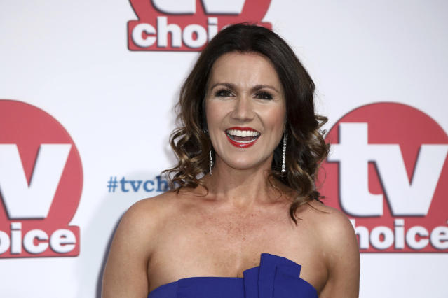 Susanna Reid appeared on 'Good Morning Britain' via videolink while in self-isolation. (AP)