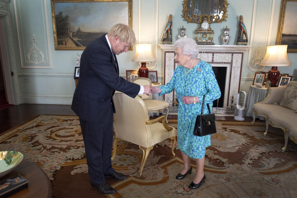 File photo dated 24/07/19 of Queen Elizabeth II inviting Boris Johnson to become Prime Minister and form a new government during an audience in Buckingham Palace. Mr Johnson will seek an extended suspension of Parliament ahead of a Queen's Speech on October 14 in a move which would hamper efforts by MPs to thwart a no-deal Brexit, according to reports.