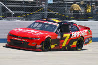 Justin Allgaier rounds the track during an NASCAR Xfinity Series auto race at Dover International Speedway, Tuesday, June 15, 2021, in Dover, Del. (AP Photo/Chris Szagola)