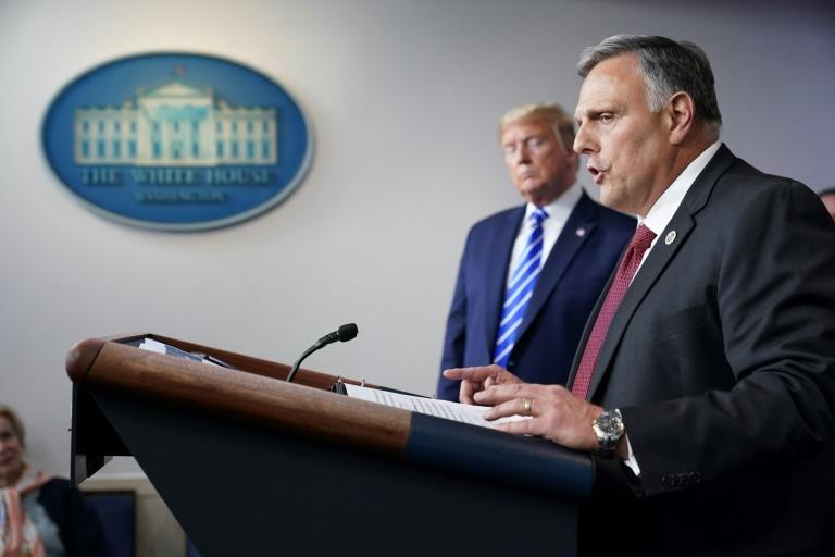 US President Donald Trump listens to Department of Homeland Security science and technology advisor William Bryan speak during the daily briefing on the novel coronavirus (AFP Photo/MANDEL NGAN)
