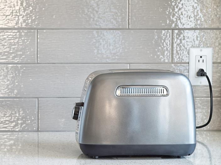 kitchen plugged in toaster