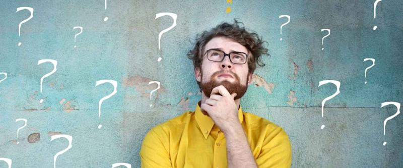 Doubtful man asking questions to himself