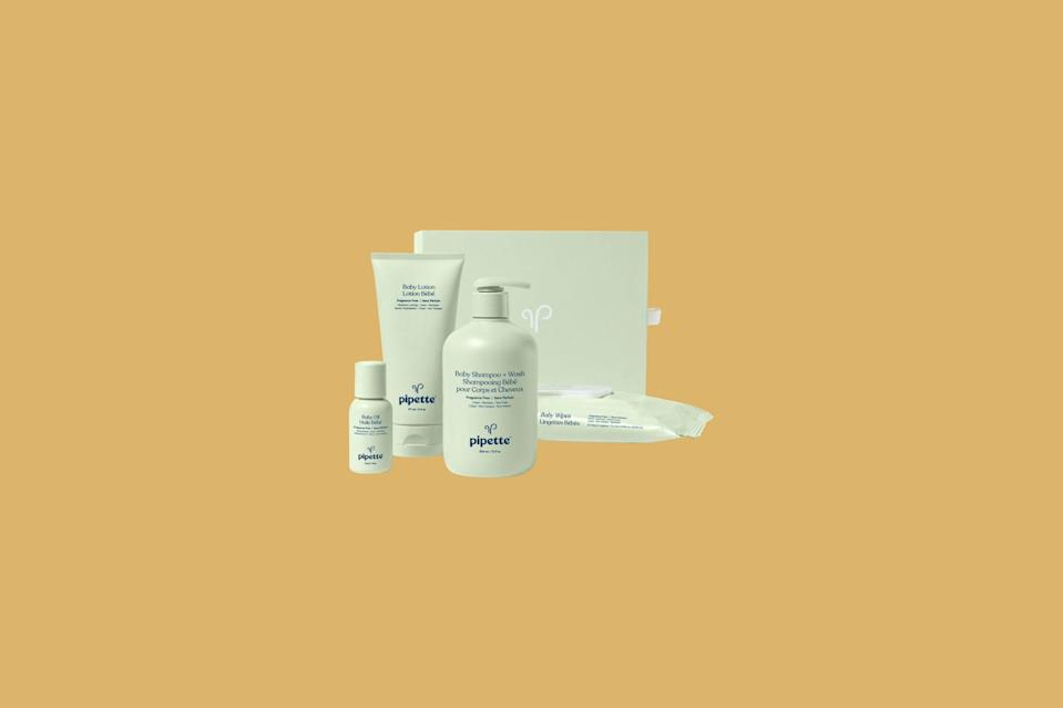 """<p>Gift Mom the cleanest, gentlest, most moisturizing products to smoothly transition through those early months. This set includes hypoallergenic products baby shampoo and wash, lotion, a travel-sized baby oil, and wipes—plus a box for holding all those bottles.</p> <p><strong><em>Shop Now: </em></strong><em>Pipette Welcome Baby Keepsake Set, $36, <a href=""""https://click.linksynergy.com/deeplink?id=93xLBvPhAeE&mid=45362&murl=https%3A%2F%2Fpipettebaby.com%2Fproducts%2Fwelcome-baby-keepsake-set&u1=MSL25GiftsforaBabyShowerinaBoxDeliveryPackagerhaarsBabGal7845171202007I"""" rel=""""nofollow noopener"""" target=""""_blank"""" data-ylk=""""slk:pipettebaby.com"""" class=""""link rapid-noclick-resp"""">pipettebaby.com</a></em><em>.</em></p>"""