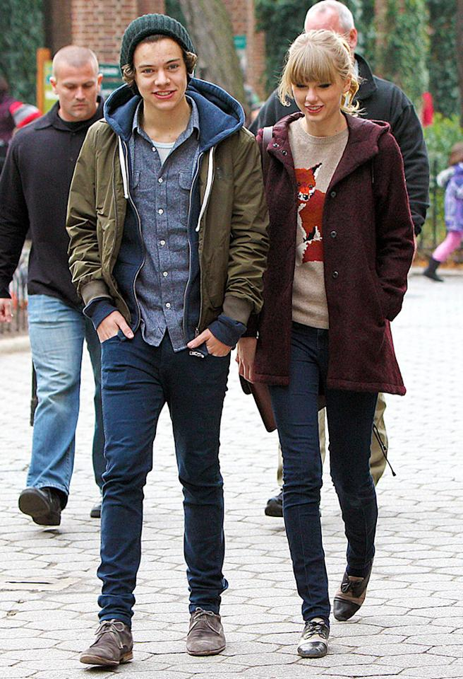 """She knew he was trouble from the start, but Taylor Swift got involved with One Direction hottie Harry Styles anyway. After only two months together, the pair spent New Year's in the British Virgin Islands and happily posed for photos with fans on January 1. A few days later, Taylor was on the <a target=""""_blank"""" href=""""http://omg.yahoo.com/blogs/celeb-news/report-taylor-swift-harry-styles-break-183409016.html"""">first flight away</a> from the crooner."""
