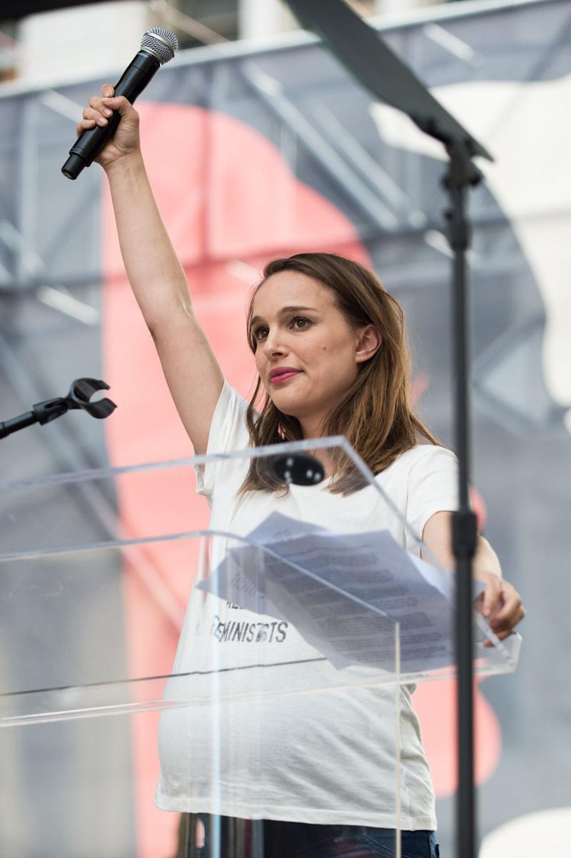 Natalie Portman speaks onstage at the women's march in Los Angeles, California.