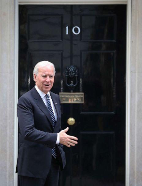 PHOTO: Vice President Joe Biden gestures as he arrives at Downing Street on Feb. 5, 2013 in London to meet with Prime Minister David Cameron and Deputy Prime Minister Nick Clegg. (Peter Macdiarmid/Getty Images, FILE)