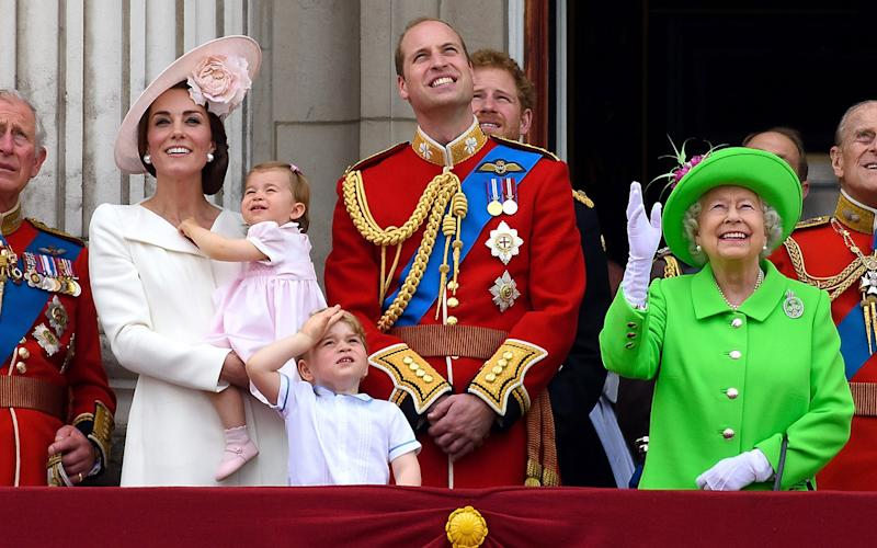 Prince George on duty with the Royal family for Trooping the Colour