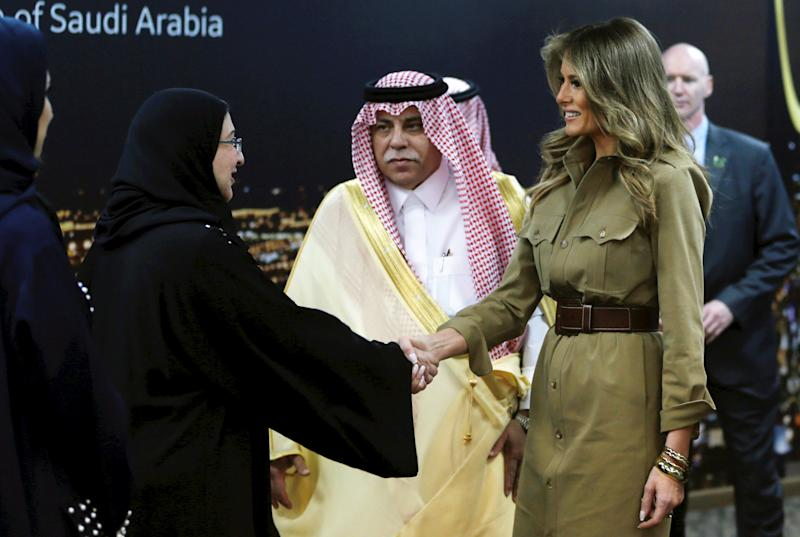 First lady Melania Trump is greeted as she visits GE All women business process service center in Riyadh