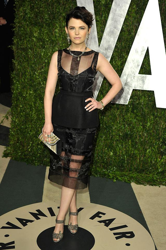 "Also spotted in all-black was ""Once Upon a Time"" star Ginnifer Goodwin, who donned this fashion-forward getup."