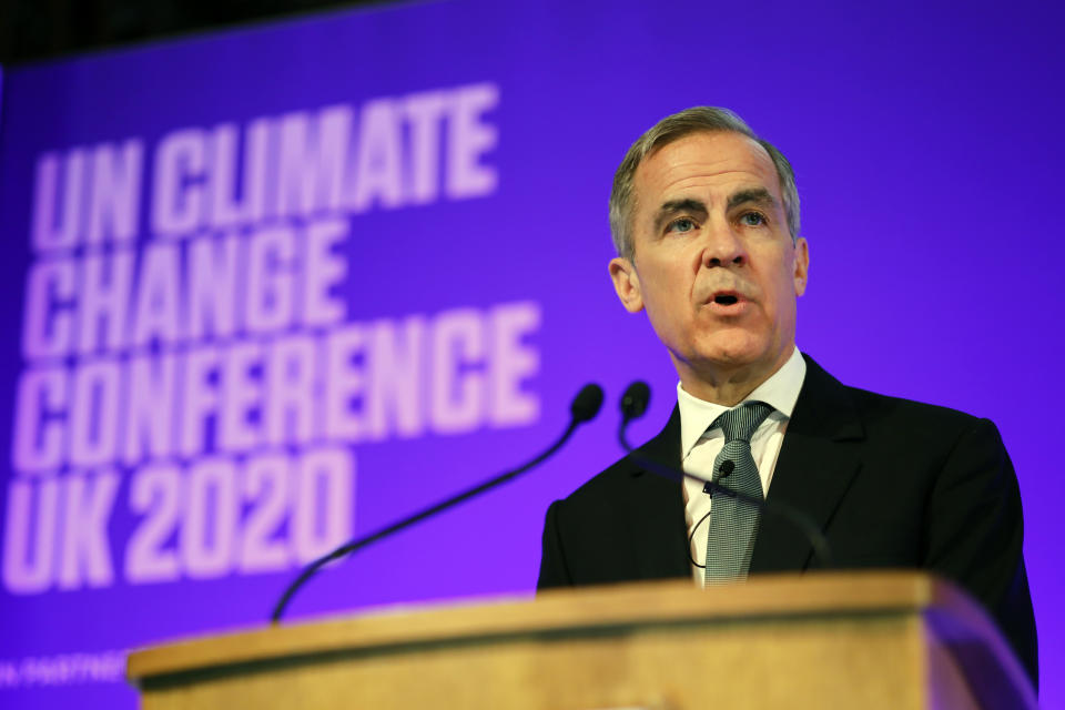 Mark Carney, former Bank of England governor Mark Carney, and COP26 Finance Adviser to Britain's prime minister. Photo: Tolga Akmen/Pool via AP