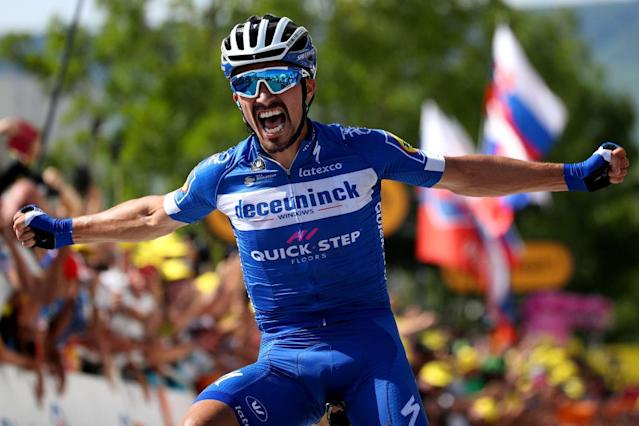 Panache personified: Julian Alaphilippe (Deceuninck-QuickStep) wins stage 3 of the 2019 Tour de France in Epernay, and with it takes the yellow jersey as leader of the race