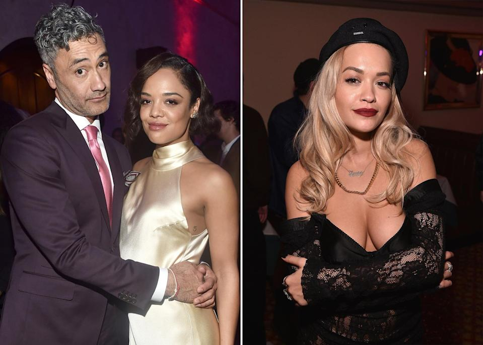"""<p><a href=""""https://www.vulture.com/2021/05/taika-waititi-rita-ora-and-tessa-thomspon-photos.html"""" class=""""link rapid-noclick-resp"""" rel=""""nofollow noopener"""" target=""""_blank"""" data-ylk=""""slk:The internet went wild"""">The internet went wild</a> when <a href=""""https://www.dailymail.co.uk/tvshowbiz/article-9610391/Rita-Ora-Taika-Waititi-pack-PDA-cosy-Tessa-Thompson-night-party.html"""" class=""""link rapid-noclick-resp"""" rel=""""nofollow noopener"""" target=""""_blank"""" data-ylk=""""slk:pictures of Tessa getting cozy"""">pictures of Tessa getting cozy</a> with both Taika Waititi and Rita Ora surfaced on May 23. It didn't take long for people to wonder whether or not Tessa and the new celeb couple were actually a throuple, seeing as Tessa had been photographed both nose-to-nose with Rita and in an intimate embrace with Taika. The trio was also seen in a huddle one can only describe as """"a love puddle.""""</p> <p><a href=""""https://www.popsugar.com/celebrity/taika-waititi-rita-ora-relationship-details-48327135"""" class=""""link rapid-noclick-resp"""" rel=""""nofollow noopener"""" target=""""_blank"""" data-ylk=""""slk:Rita and Taika were first romantically linked"""">Rita and Taika were first romantically linked</a> together by <a href=""""https://www.instagram.com/p/CN7nJaBjSZe/"""" class=""""link rapid-noclick-resp"""" rel=""""nofollow noopener"""" target=""""_blank"""" data-ylk=""""slk:an Instagram post on April 21, 2021"""">an Instagram post on April 21, 2021</a>. Oddly enough, Tessa was also included in the same Instagram gallery, which the singer had captioned, """"Good times, memories, random things on my phone and the ones I love."""" Further confirmation of Rita and Taika's relationship came after <a href=""""https://etcanada.com/news/780784/rita-ora-taika-waititi-spotted-together-in-sydney-after-weeks-of-dating-rumours/"""" class=""""link rapid-noclick-resp"""" rel=""""nofollow noopener"""" target=""""_blank"""" data-ylk=""""slk:the duo attended the Sydney premiere of RuPaul's Drag Race Down Under together"""">the duo attended the Sydney premiere of <strong>RuPaul's Drag Race Down Under</"""