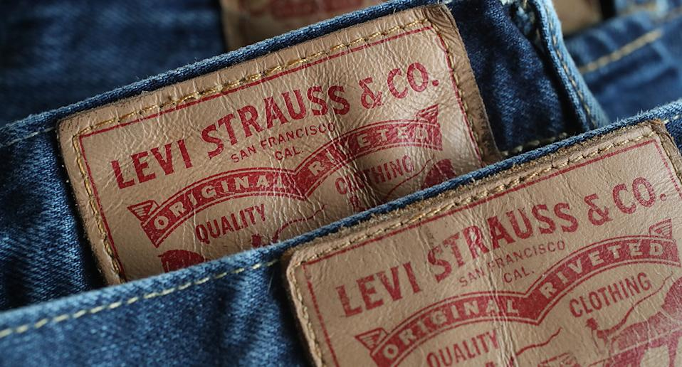 Pairs of iconic Levi jeans.