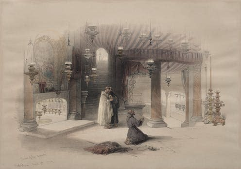 "<span class=""caption"">The Shrine of the Holy Nativity, Bethlehem, 1849.</span> <span class=""attribution""><span class=""source"">David Roberts</span></span>"