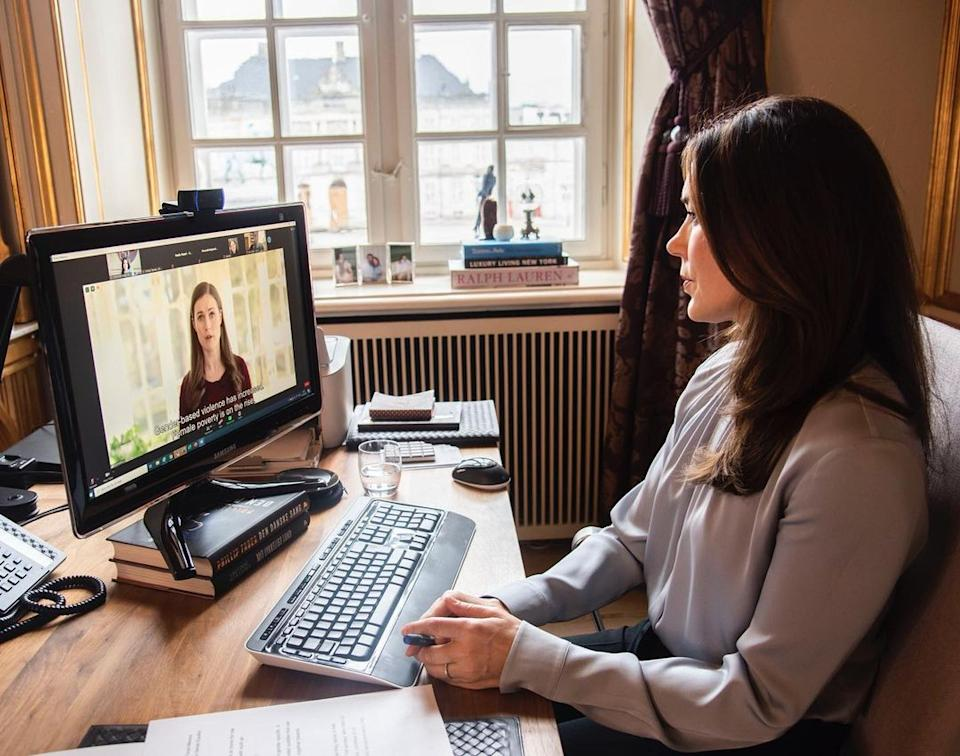 Princess Mary on a zoom call with the UN Women's Generation Equality Forum