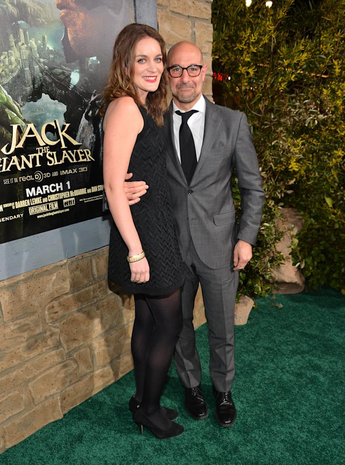 "HOLLYWOOD, CA - FEBRUARY 26:  Actor Stanley Tucci (R) and Felicity Blunt attend the premiere of New Line Cinema's ""Jack The Giant Slayer"" at TCL Chinese Theatre on February 26, 2013 in Hollywood, California.  (Photo by Alberto E. Rodriguez/Getty Images)"