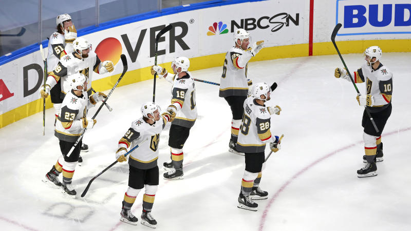 EDMONTON, ALBERTA - AUGUST 08: Alex Tuch #89 of the Vegas Golden Knights is congratulated by his teammates after scoring the game-winning goal against the Colorado Avalanche during overtime in a Western Conference Round Robin game during the 2020 NHL Stanley Cup Playoff at Rogers Place on August 08, 2020 in Edmonton, Alberta. (Photo by Jeff Vinnick/Getty Images)