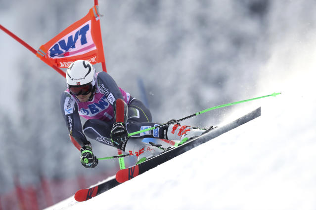 Norway's Henrik Kristoffersen competes during a ski World Cup men's Giant Slalom in Adelboden, Switzerland, Saturday, Jan.12, 2019. (AP Photo/Shinichiro Tanaka)
