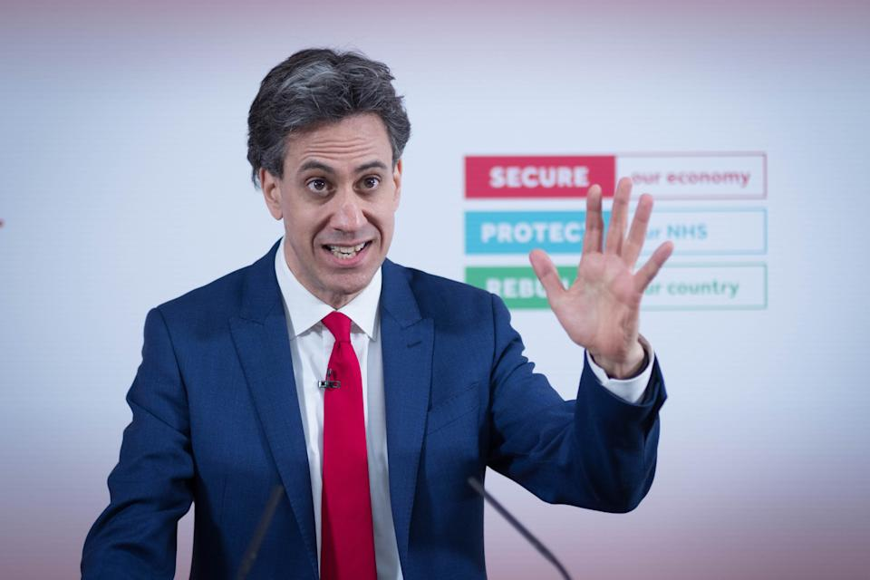 Shadow Business Secretary Ed Miliband delivers a speech at Labour Party headquarters in London on securing jobs and backing industry through a green economic recovery. Picture date: Thursday March 25, 2021.