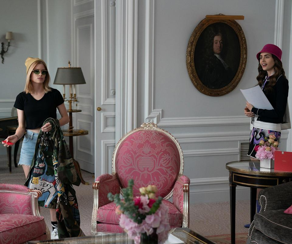 """<h2>Episode 7: """"French Ending""""</h2><br><strong>What Emily's Up To: </strong>She's tasked with looking after an American actress who's in town to model a pricey watch at a luxurious party. Too bad the actress has no intention of behaving. <br><br><strong>Where Emily Goes: </strong>The ritzy hotel the actress stays in is called <a href=""""https://www.dorchestercollection.com/en/paris/hotel-plaza-athenee/rooms-suites/"""" rel=""""nofollow noopener"""" target=""""_blank"""" data-ylk=""""slk:Hôtel Plaza Athénée"""" class=""""link rapid-noclick-resp"""">Hôtel Plaza Athénée</a>, where <a href=""""https://www.tripadvisor.com/Hotel_Review-g187147-d188730-Reviews-Hotel_Plaza_Athenee-Paris_Ile_de_France.html"""" rel=""""nofollow noopener"""" target=""""_blank"""" data-ylk=""""slk:rooms can go for over $1000"""" class=""""link rapid-noclick-resp"""">rooms can go for over $1000</a>. <span class=""""copyright"""">Photo: Courtesy of Netflix.</span>"""
