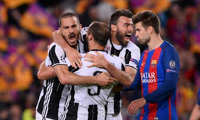 """<span class=""""element-image__caption"""">Juventus defenders Leonardo Bonucci, Giorgio Chiellini and Andrea Barzagli celebrate after their second clean sheet against Barcelona.</span> <span class=""""element-image__credit"""">Photograph: Josep Lago/AFP/Getty Images</span>"""