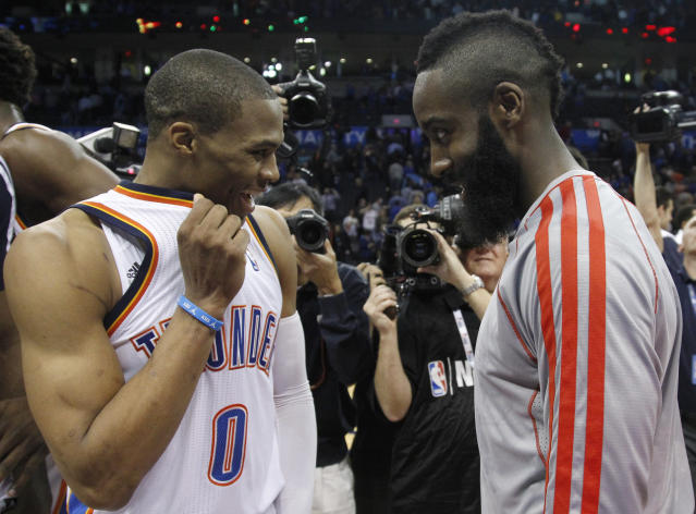 "<a class=""link rapid-noclick-resp"" href=""/nba/players/4390/"" data-ylk=""slk:Russell Westbrook"">Russell Westbrook</a> and James Harden, together again. (AP Photo/Sue Ogrocki)"