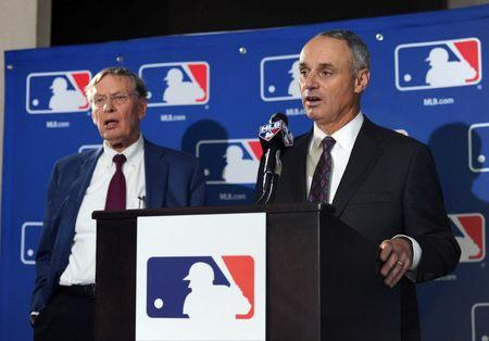 Aug 14, 2014; Baltimore, MD, USA; Newly elected commissioner of baseball Rob Manfred speaks at a press conference after being elected by team owners to be the next commissioner of Major League Baseball. At left is MLB commissioner Bud Selig. Mandatory Credit: H.Darr Beiser-USA TODAY Sports