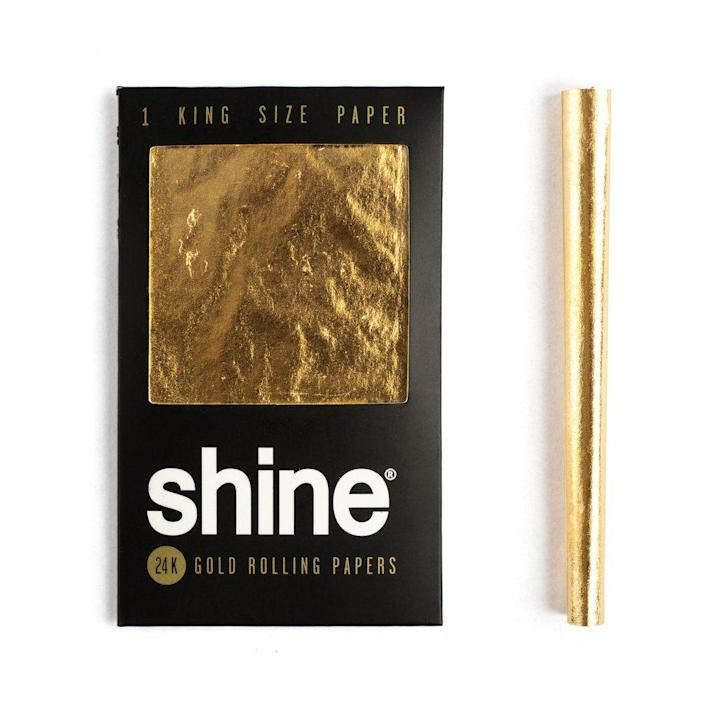 "<p><strong>Shine</strong></p><p>shinerollingpapers.com</p><p><strong>$11.00</strong></p><p><a href=""https://shinerollingpapers.com/products/shine-1-sheet-pack-king-size"" rel=""nofollow noopener"" target=""_blank"" data-ylk=""slk:Shop Now"" class=""link rapid-noclick-resp"">Shop Now</a></p><p>Add a luxe element to your rolling game with these 24K papers.</p>"