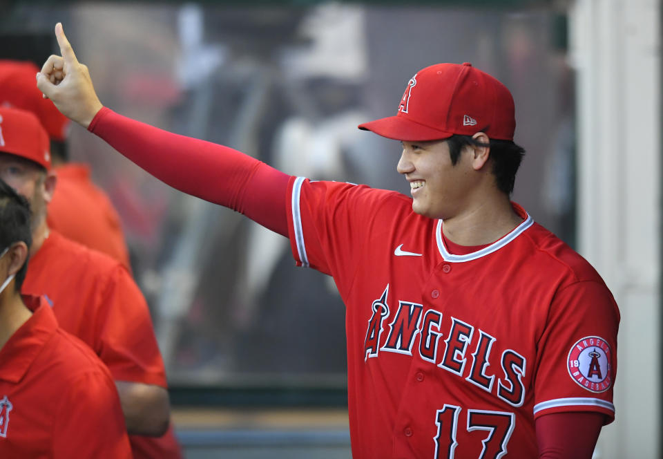 ANAHEIM, CA - SEPTEMBER 22: Shohei Ohtani #17 of the Los Angeles Angels in the dugout before playing the Houston Astros in the first inning at Angel Stadium of Anaheim on September 22, 2021 in Anaheim, California. (Photo by John McCoy/Getty Images)