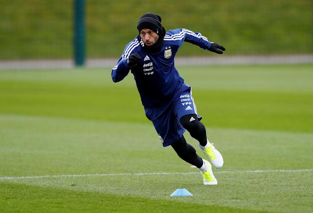 Soccer Football - Argentina Training - City Football Academy, Manchester, Britain - March 20, 2018 Argentina's Javier Mascherano during training Action Images via Reuters/Jason Cairnduff